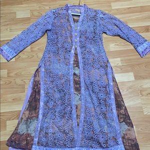 4 piece purple lace Pakistani suit